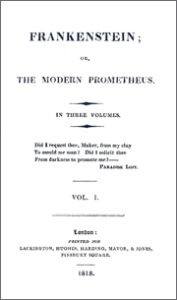 Title-page of the first edition of Frankenstein